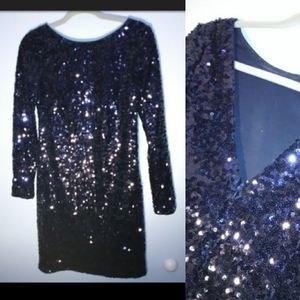 Sequin Jessica Simpson Navy V Back Dress Small Gorgeous Dress EUC